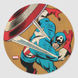 Captain America-He Took On All Of Them Classic Round Sticker