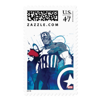 Captain America Ink Splatter Graphic Postage