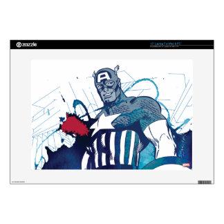 """Captain America Ink Splatter Graphic Skin For 15"""" Laptop"""