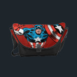 """Captain America Jump Small Messenger Bag<br><div class=""""desc"""">Check out this retro comic book art of Captain America in mid jump!</div>"""