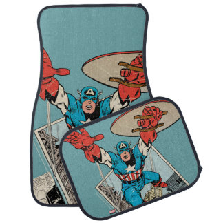 Captain America Leaping Out Of Comic Car Floor Mat