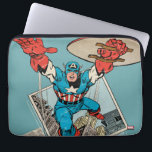 "Captain America Leaping Out Of Comic Laptop Sleeve<br><div class=""desc"">Check out this vintage style Captain America leap out of the comic book panels into life!</div>"