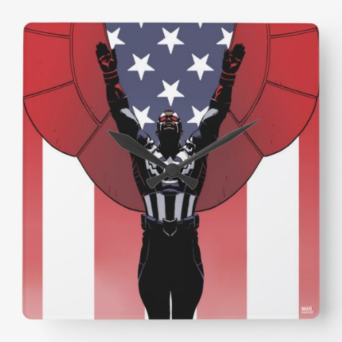 Captain America Patriotic City Graphic Square Wall Clock