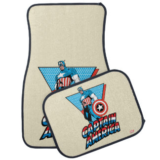 Captain America Retro Character Graphic Car Mat