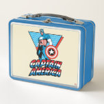 "Captain America Retro Character Graphic Metal Lunch Box<br><div class=""desc"">Check out Captain America standing tall and smiling in his graphic featuring his name logo and a blue & red triangular background.</div>"