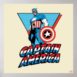 Captain America Retro Character Graphic Poster