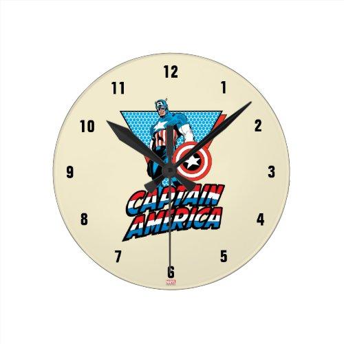 Captain America Retro Character Graphic Round Clock