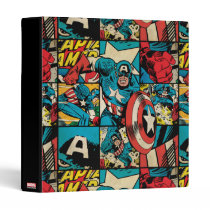 Captain America Retro Comic Book Pattern 3 Ring Binder