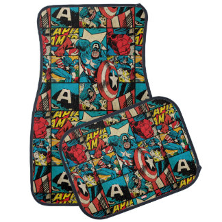 Captain America Retro Comic Book Pattern Car Mat