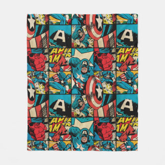 Captain America Retro Comic Book Pattern Fleece Blanket