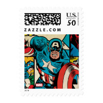 Captain America Retro Comic Book Pattern Postage