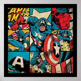 Captain America Retro Comic Book Pattern Poster