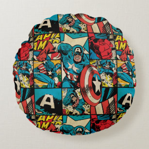 Surprising Captain America Retro Comic Book Pattern Round Pillow Pdpeps Interior Chair Design Pdpepsorg