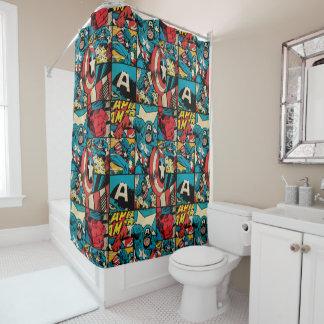 Captain America Retro Comic Book Pattern Shower Curtain