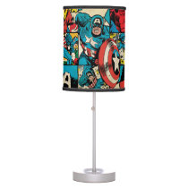 Captain America Retro Comic Book Pattern Table Lamp