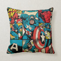 Captain America Retro Comic Book Pattern Throw Pillow