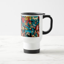 Captain America Retro Comic Book Pattern Travel Mug