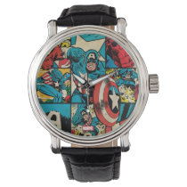 Captain America Retro Comic Book Pattern Watch