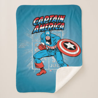 Captain America Retro Price Graphic Sherpa Blanket