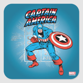 Captain America Retro Price Graphic Square Sticker