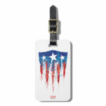 Captain America Retro Shield Paint Brush Strokes Bag Tag