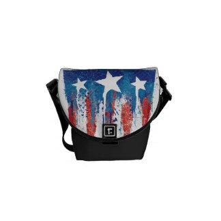 Captain America Retro Shield Paint Brush Strokes Courier Bag