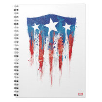Captain America Retro Shield Paint Brush Strokes Notebook
