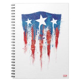 Captain America Retro Shield Paint Brush Strokes Notebook