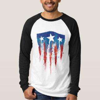 Captain America Retro Shield Paint Brush Strokes T-Shirt