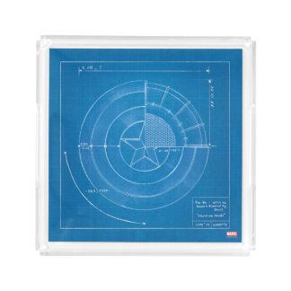 Captain America Shield Blueprint Acrylic Tray