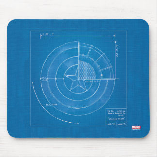 Captain America Shield Blueprint Mouse Pad