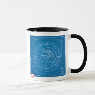 Captain America Shield Blueprint Mug