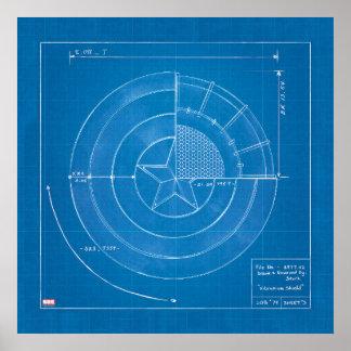 Captain America Shield Blueprint Poster