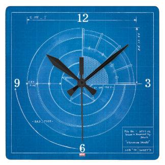 Captain America Shield Blueprint Square Wall Clock