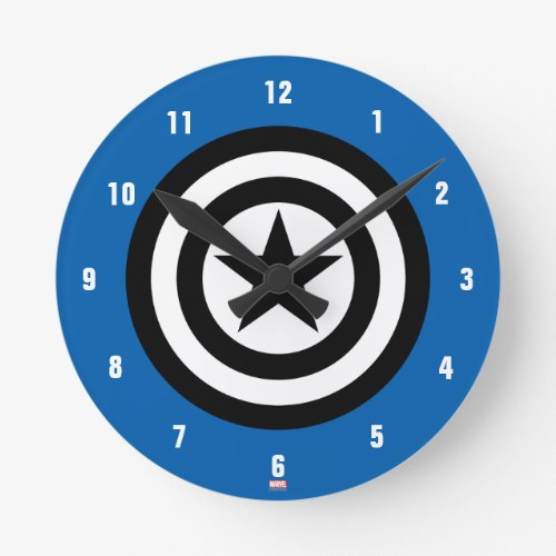 Captain America Shield Icon Round Clock