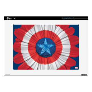 """Captain America Shield Styled Daisy Flower 15"""" Laptop Decal"""