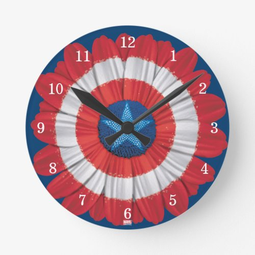 Captain America Shield Styled Daisy Flower Round Clock