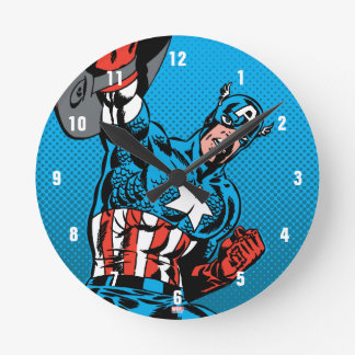 Captain America Shield Up Round Clock