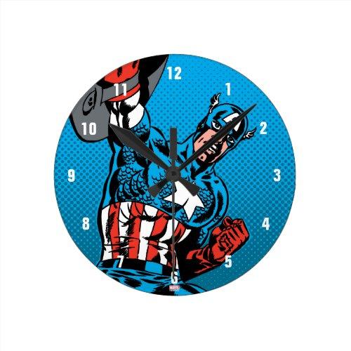 Captain America Shield Up Round Clock