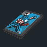 "Captain America Shield Up Trifold Wallet<br><div class=""desc"">Check out this retro comic book art of Captain America raising his shield up high.</div>"