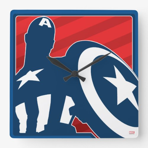 Captain America Silhouette Icon Square Wall Clock