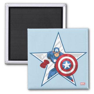 Captain America Star Graphic 2 Inch Square Magnet