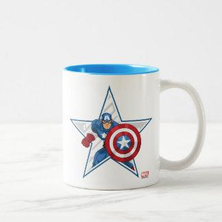 Captain America Star Graphic Two-Tone Coffee Mug