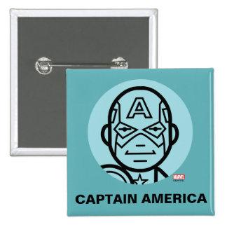 Captain America Stylized Line Art Icon Button