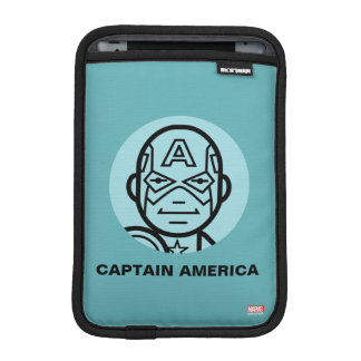 Captain America Stylized Line Art Icon iPad Mini Sleeve