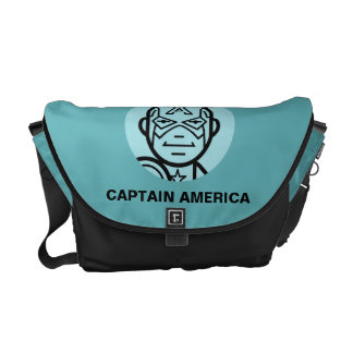 Captain America Stylized Line Art Icon Messenger Bag
