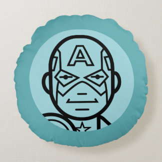Captain America Stylized Line Art Icon Round Pillow