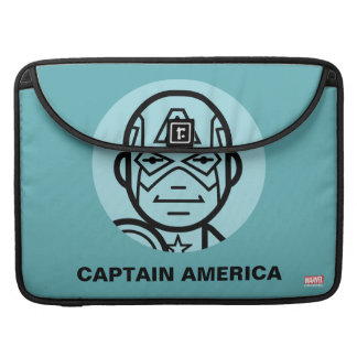 Captain America Stylized Line Art Icon Sleeve For MacBooks
