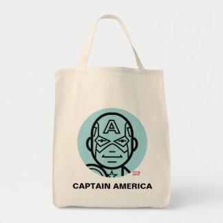 Captain America Stylized Line Art Icon Tote Bag