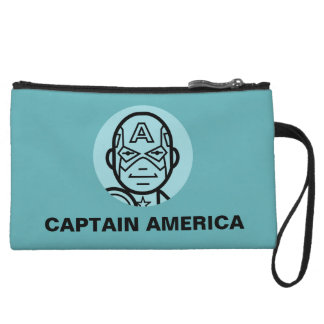 Captain America Stylized Line Art Icon Wristlet